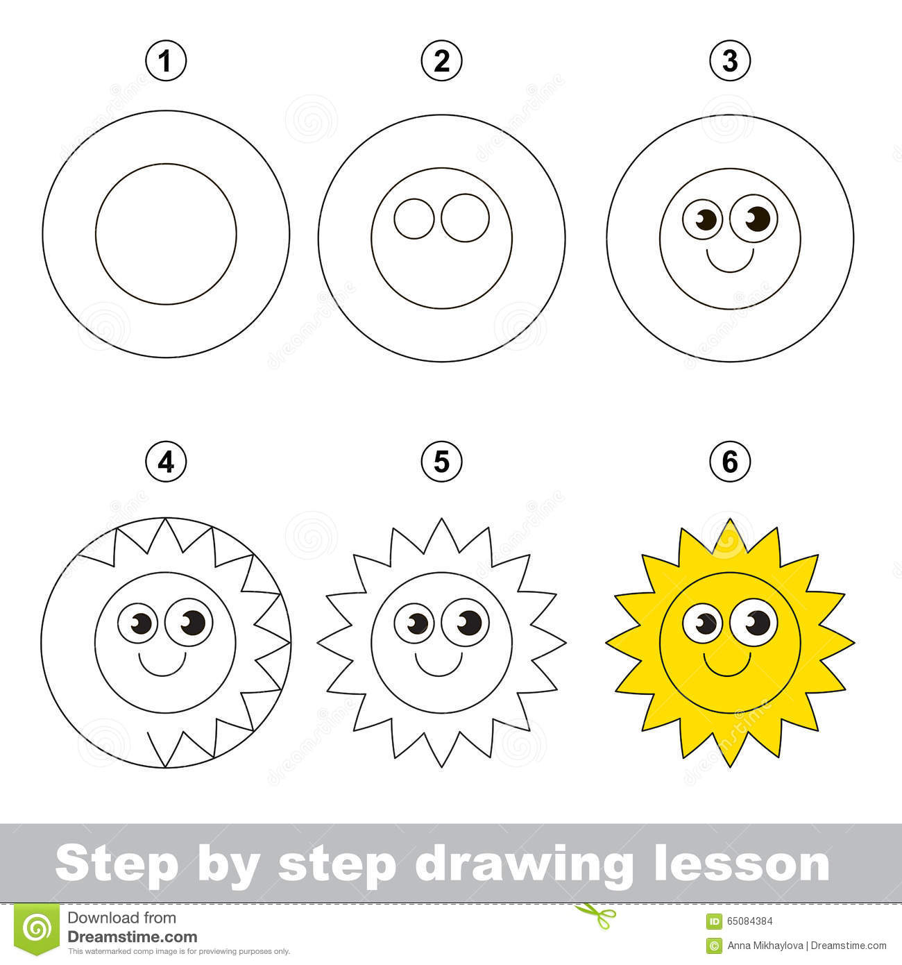 Uncategorized Learn Drawing For Kids Step By Step drawing tutorial how to draw a sun stock vector image 65084384 royalty free download tutorial
