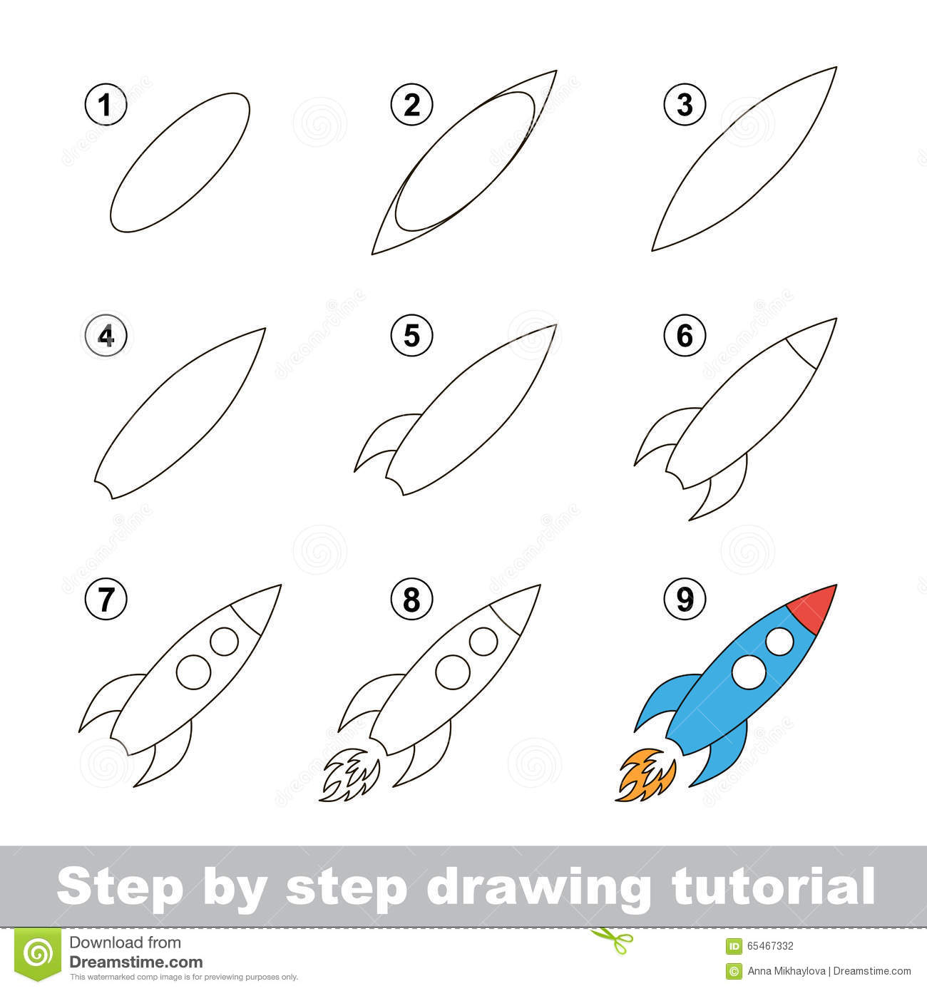 drawing tutorial how to draw a toy rocket stock vector