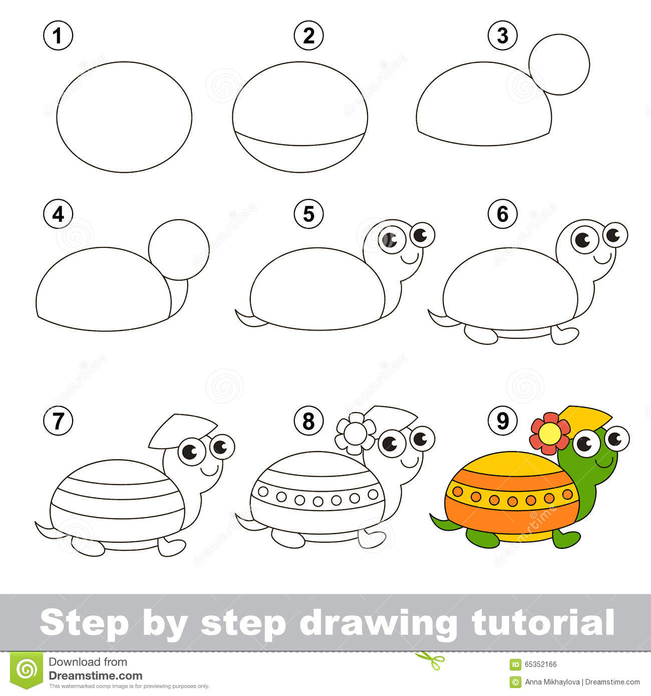 Drawing Tutorial How To Draw A Turtle Stock Vector Image 65352166