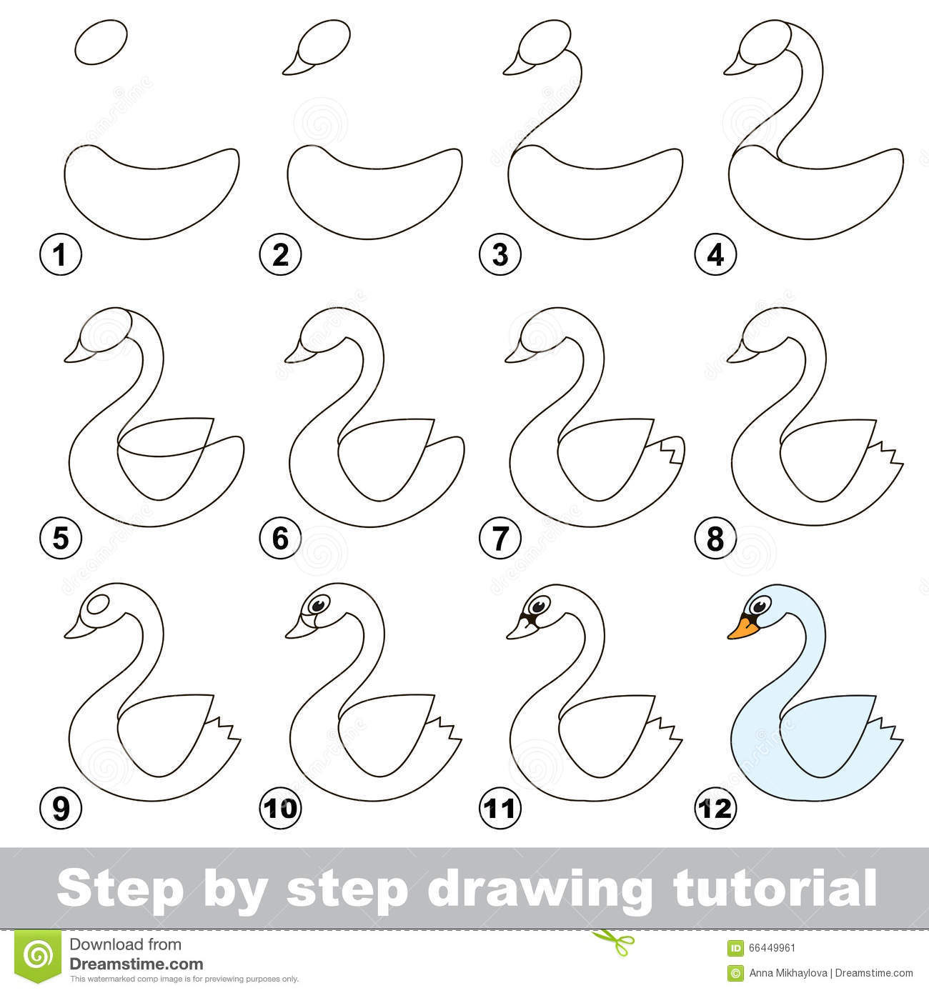 drawing tutorial how to draw a white swan