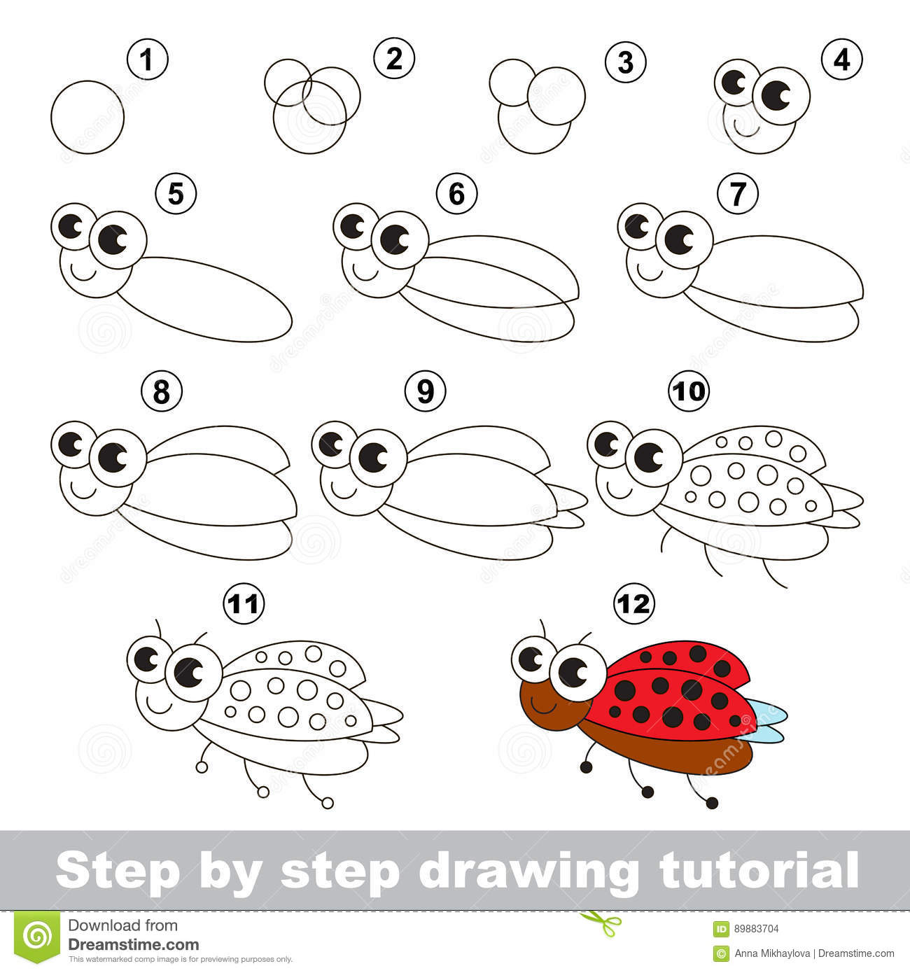 Drawing Tutorial Ladybird Stock Vector Illustration Of Insect Ladybug 89883704