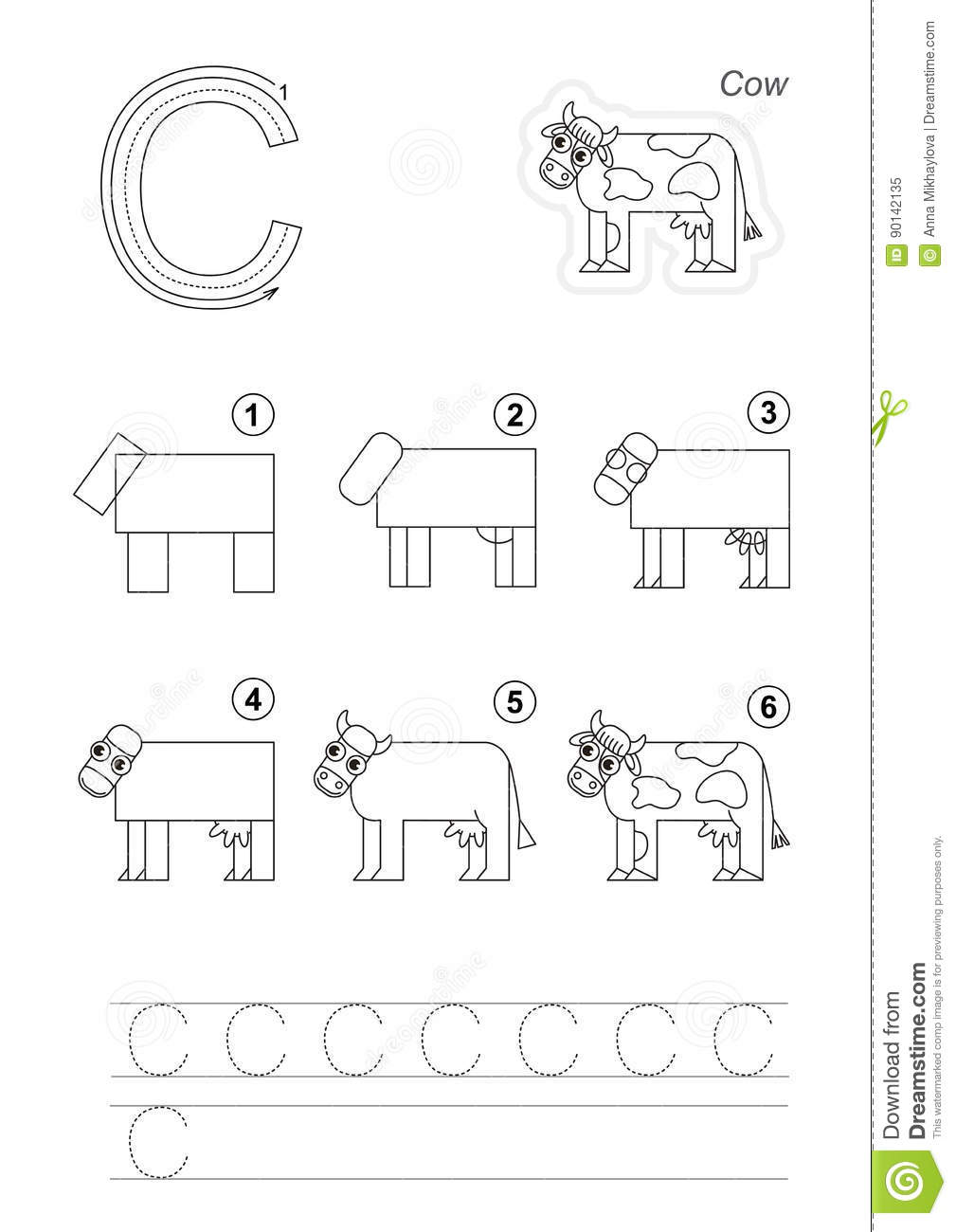 Drawing Tutorial For Letter Stock Vector Illustration Of Tutorial
