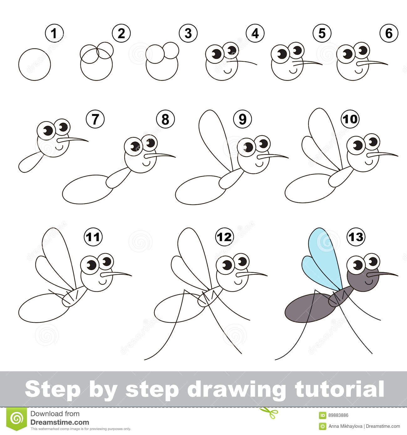 Drawing Tutorial  The Mosquito  Stock Vector - Illustration
