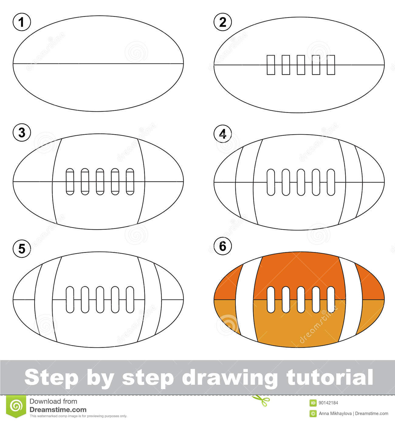 Drawing Tutorial For Preschool Children Stock Vector Illustration