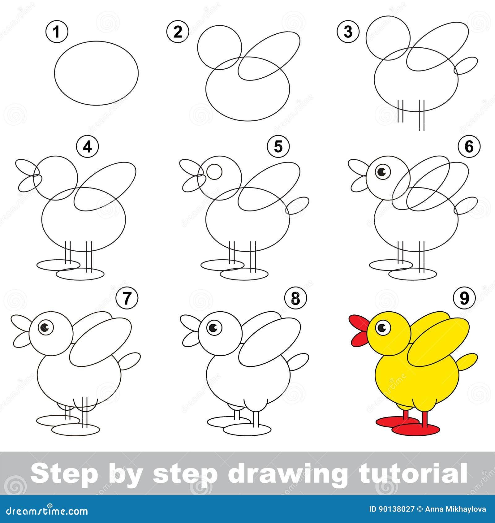 Drawing Tutorial For Preschool Children Stock Vector Illustration