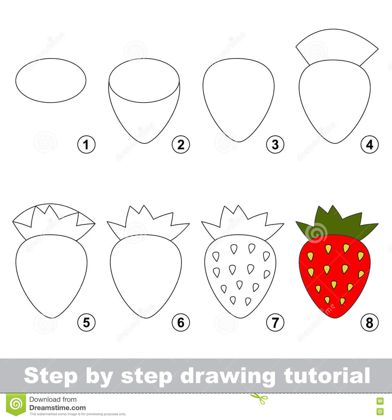 Uncategorized Drawing Of Strawberry drawing tutorial red strawberry stock vector image 79673808 strawberry