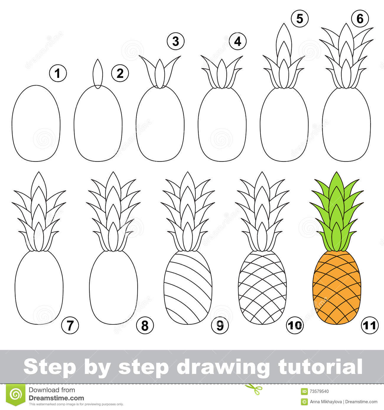Drawing Tutorial Ripe Pineapple Stock Illustration Illustration