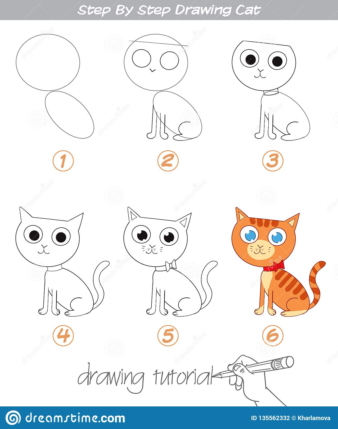 Drawing Tutorial Step By Step Drawing Cat Stock Vector