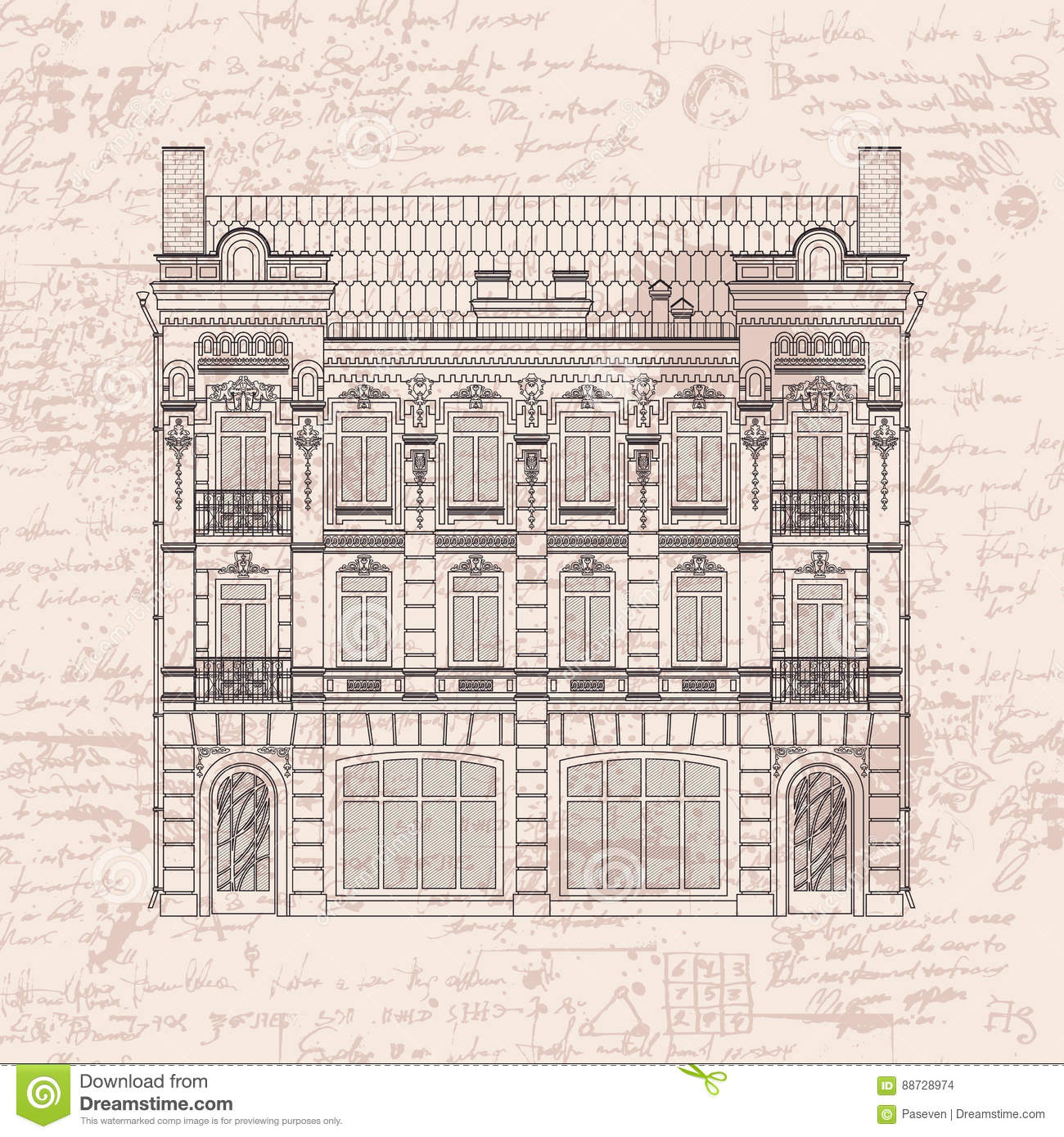Drawing Two Storey House In Baroque Style Stock Vector