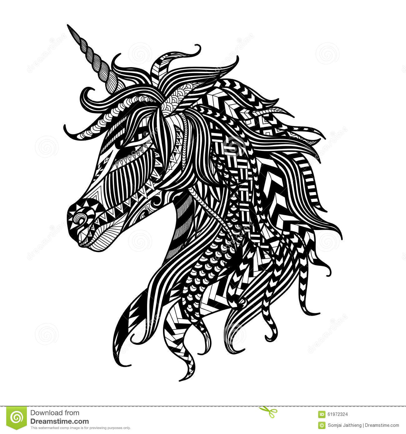 Abstract Unicorn Coloring Pages : Drawing unicorn zentangle style for coloring book tattoo