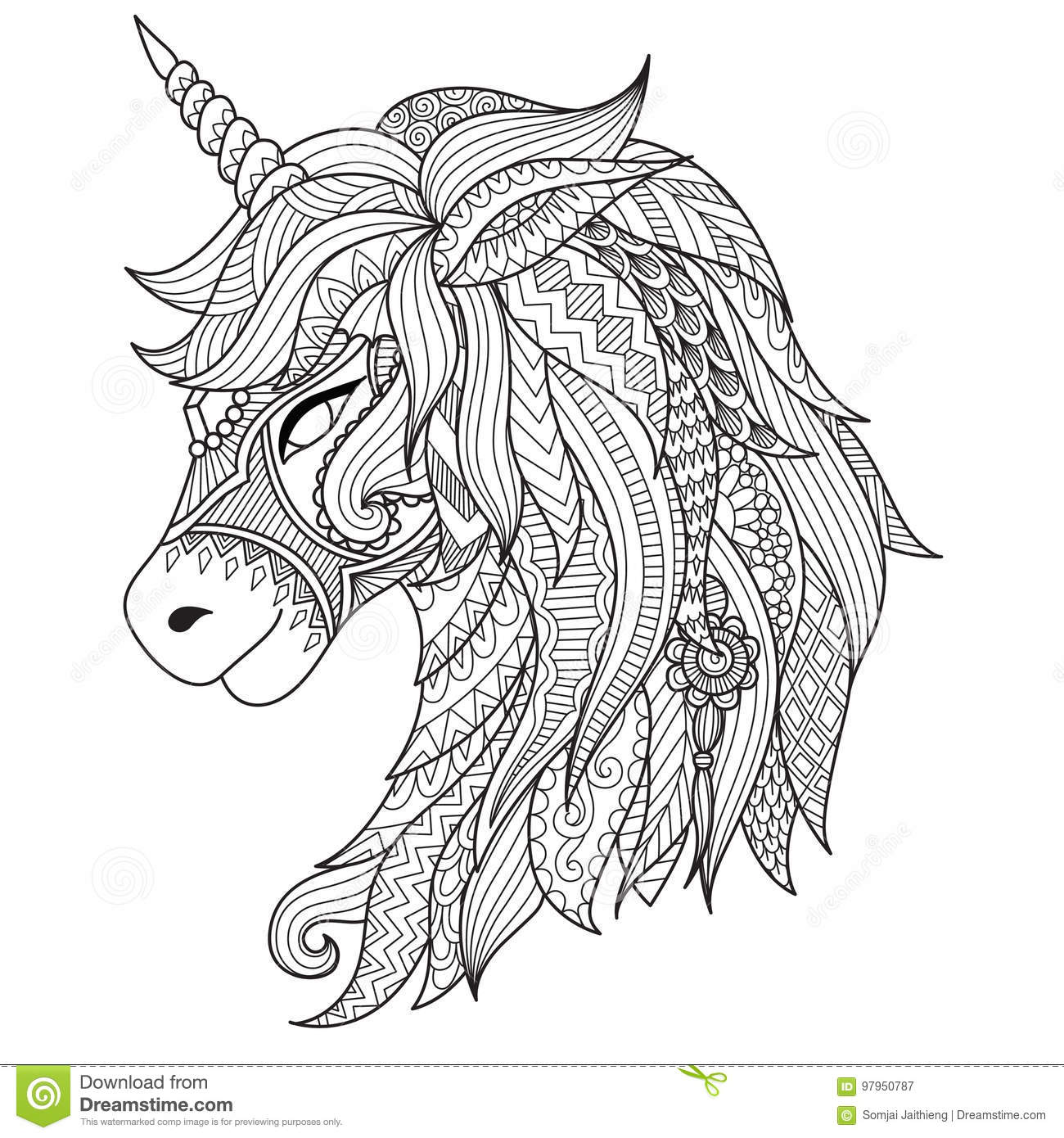Drawing Unicorn Zentangle Style For Coloring Book Tattoo