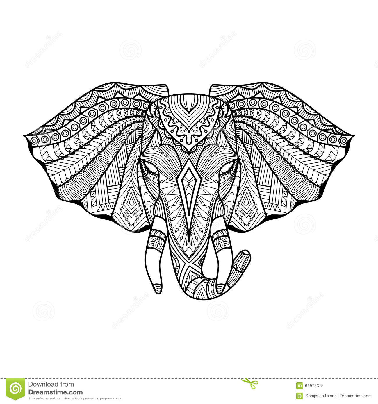 Drawing unique ethnic elephant head for print pattern for Unique sketches