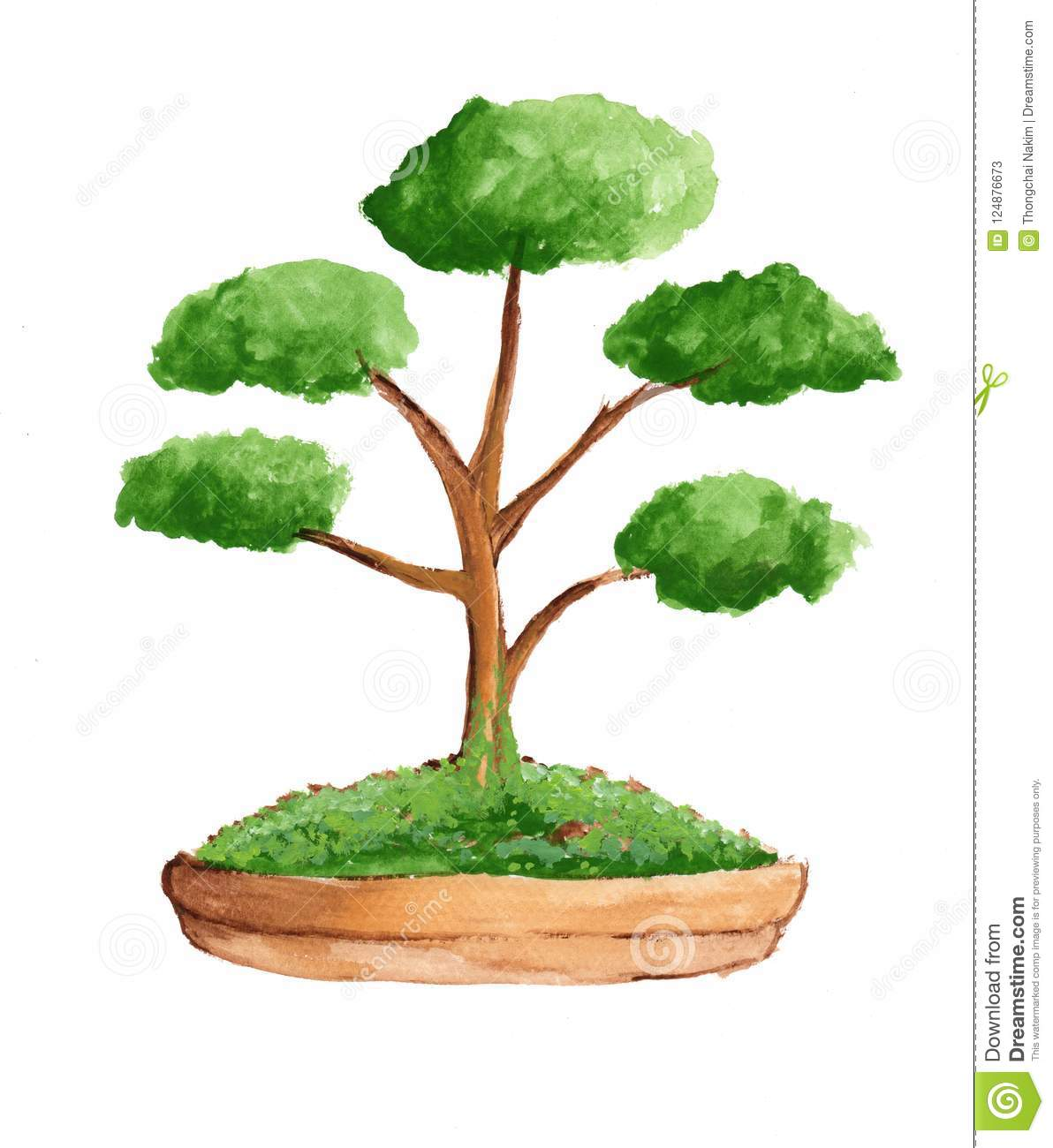 Water Color Tree In Brown Pot. Stock Illustration - Illustration of ...