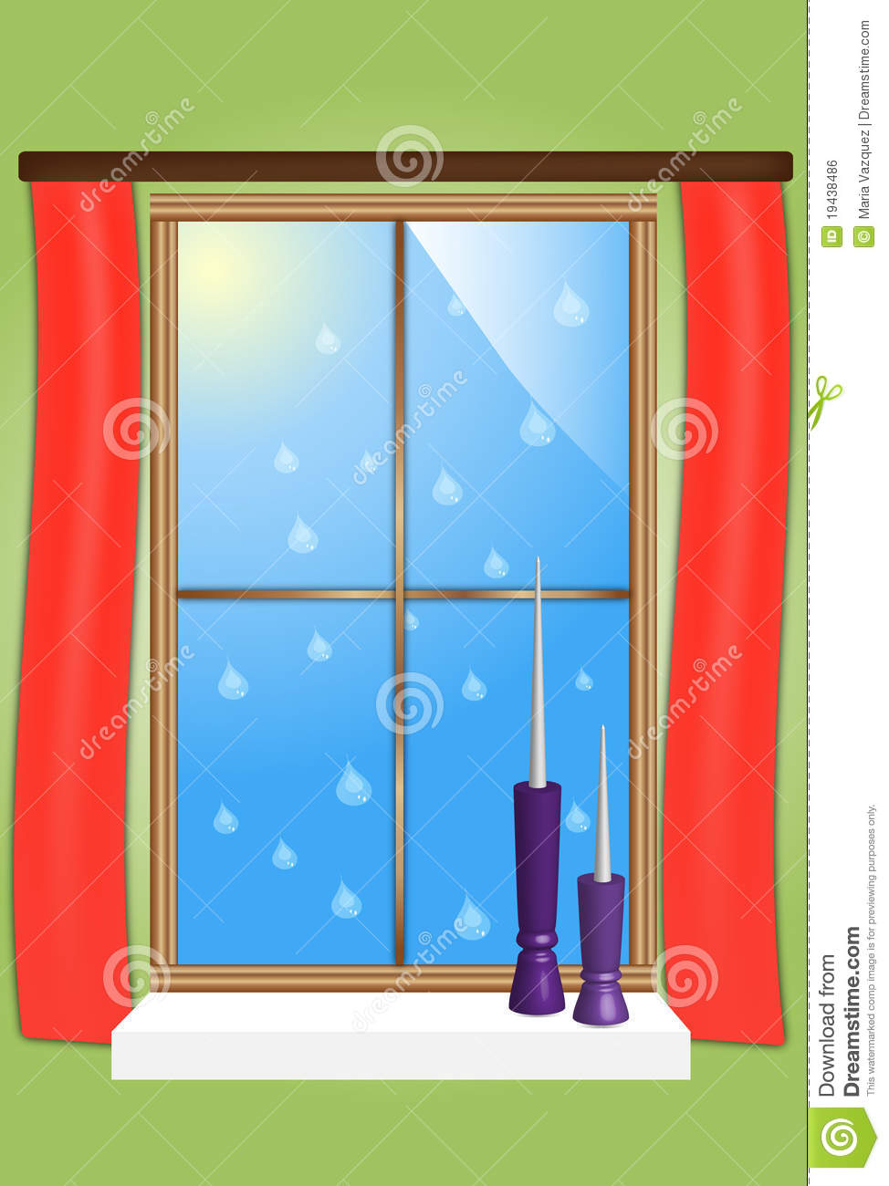 Drawing of a window stock vector image of home design for Window design sketch