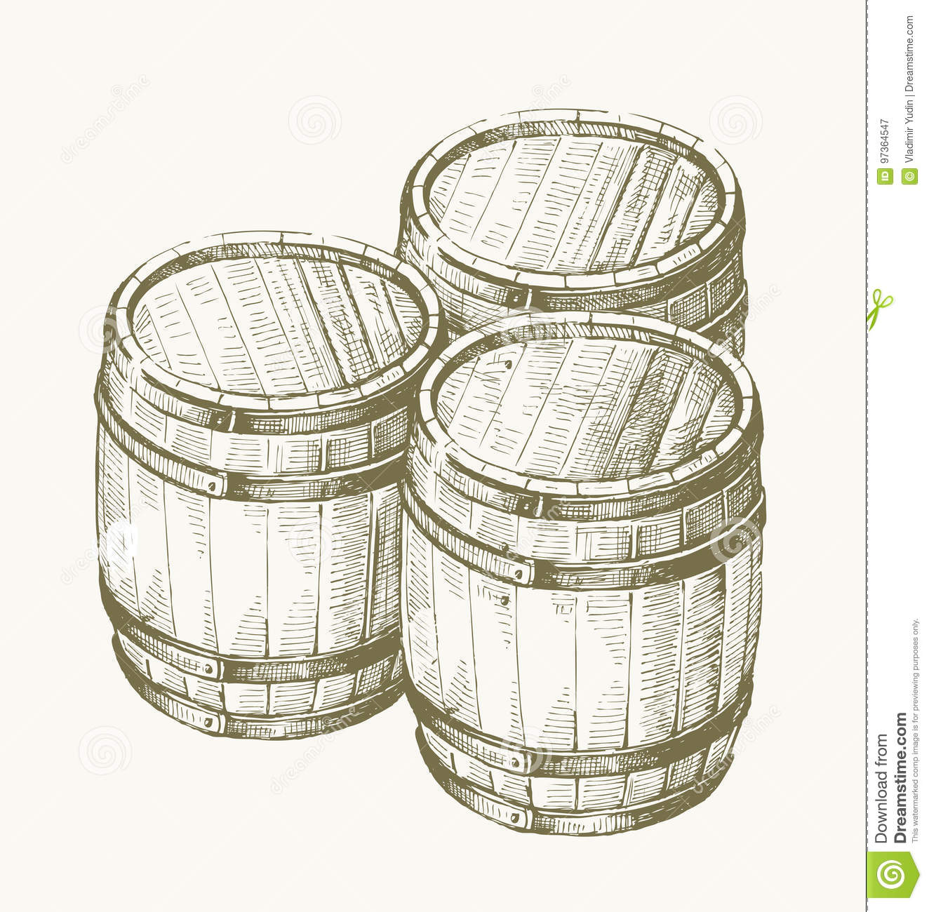 Drawing wood barrel