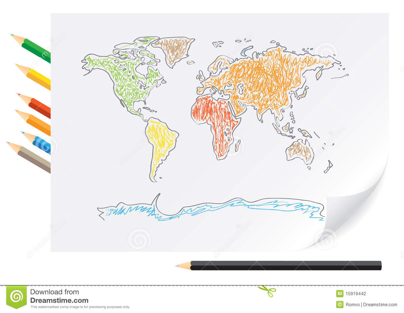 Drawing World Map By A Color Pencils Stock Vector Illustration of