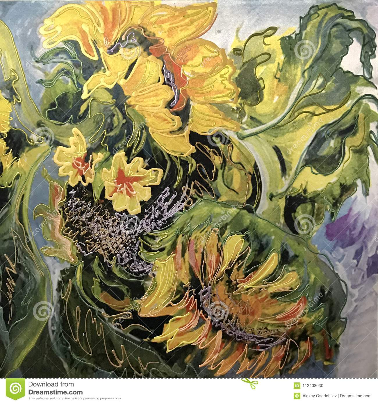 Drawing Of Big Yellow Sunflowers Stock Photo Image Of Colorful