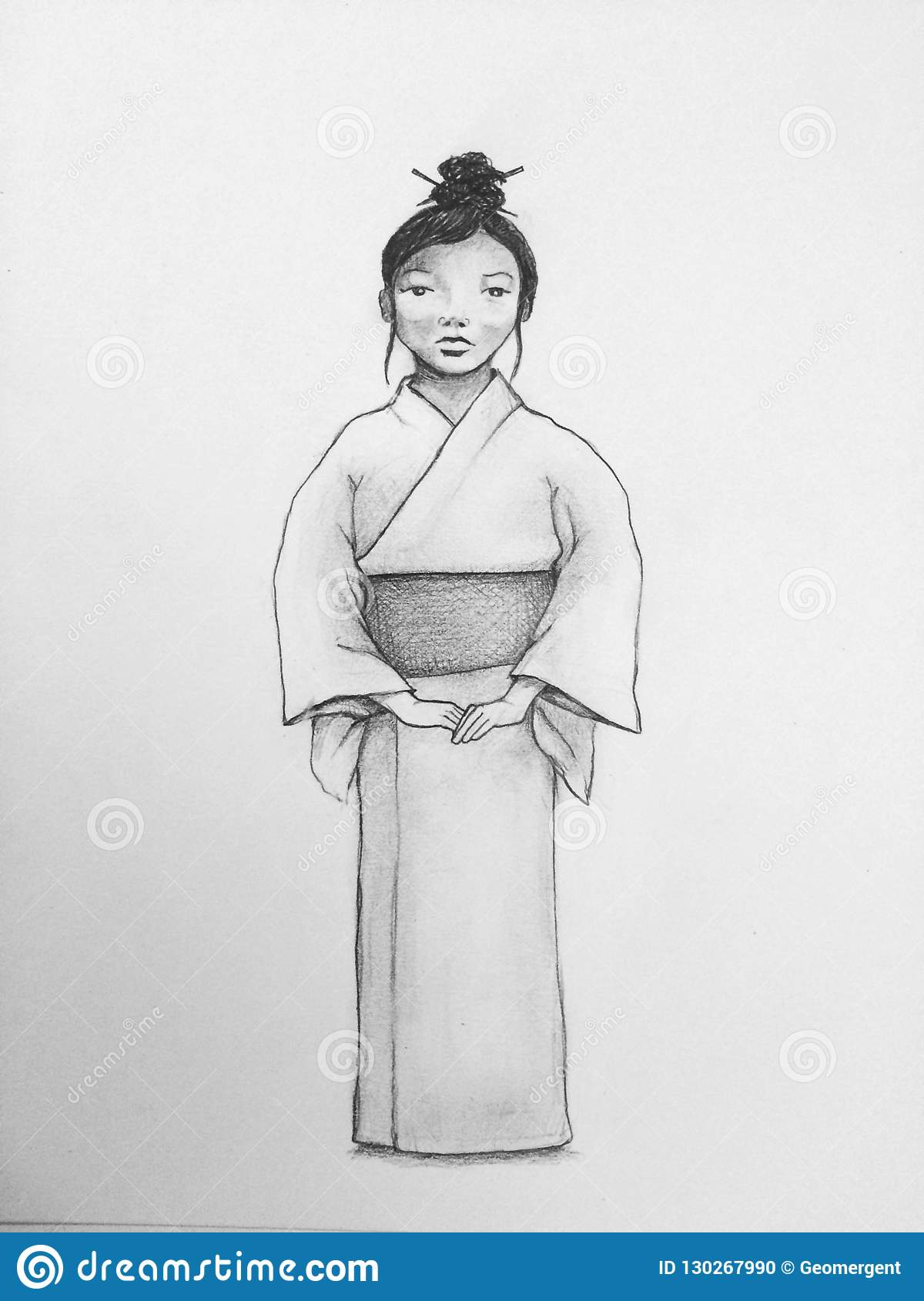 An original pencil drawing of a pretty japanese girl dressed in the traditional dress with waist sash and with her hair put up with hair sticks in a bun