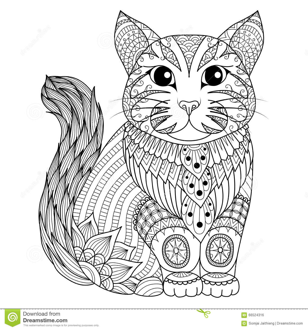 Drawing Zentangle Cat For Coloring Page, Shirt Design Effect, Logo ...