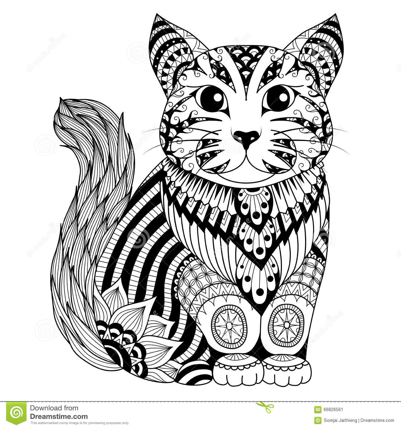 Drawing Zentangle Cat For Coloring Page Shirt Design