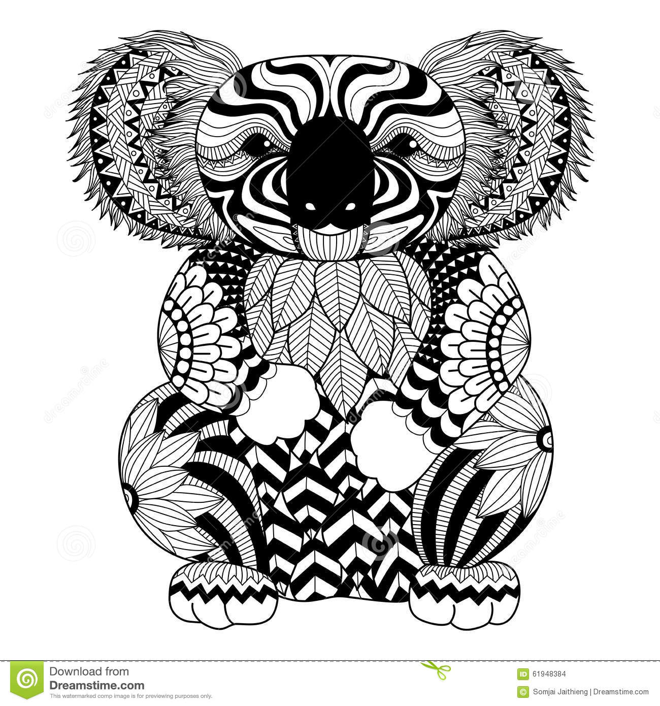 Drawing Zentangle Koala For Coloring Page Shirt Design