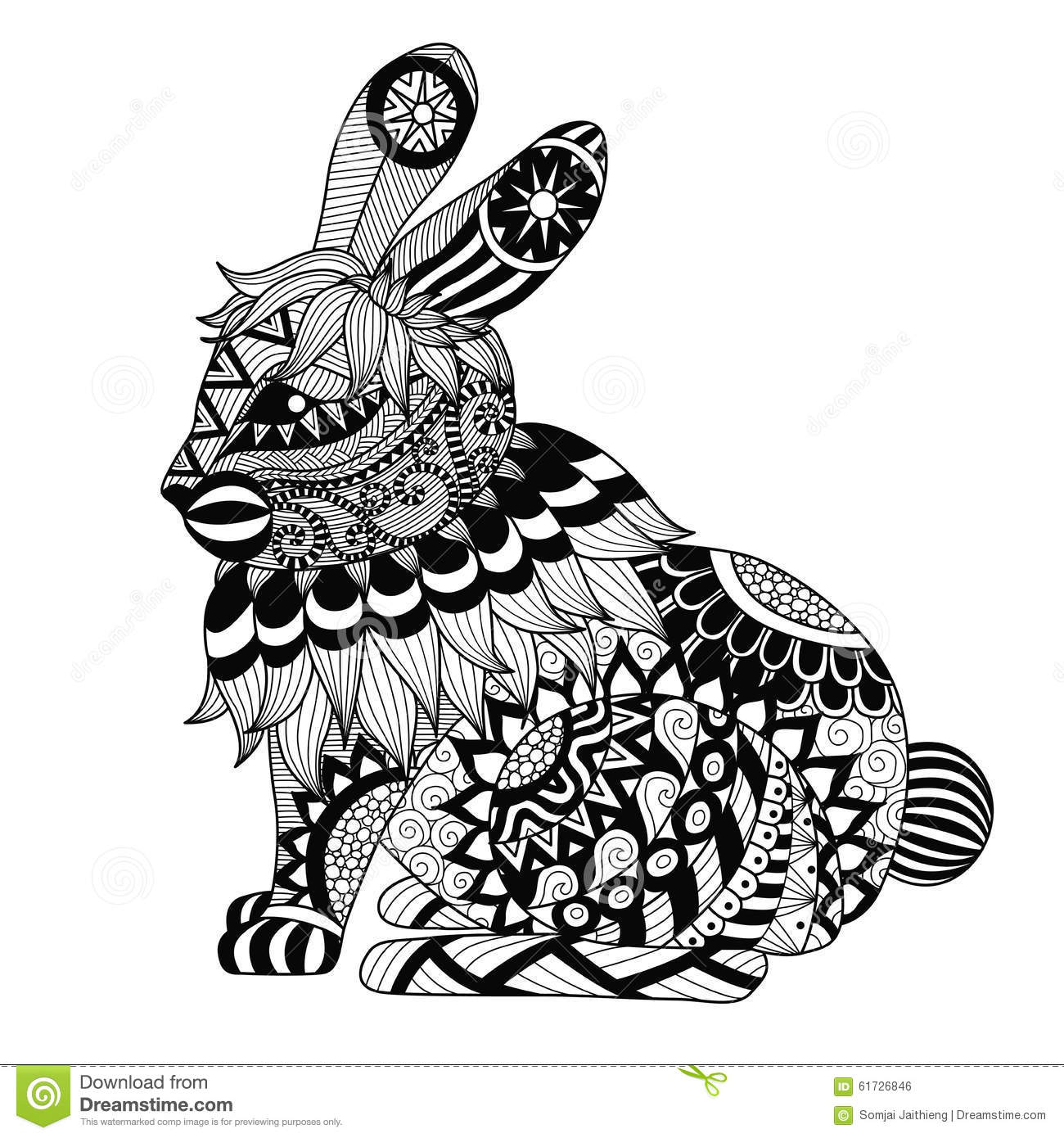 Volwassen Kleurplaten Konijnen Drawing Zentangle Rabbit For Coloring Page Shirt Design