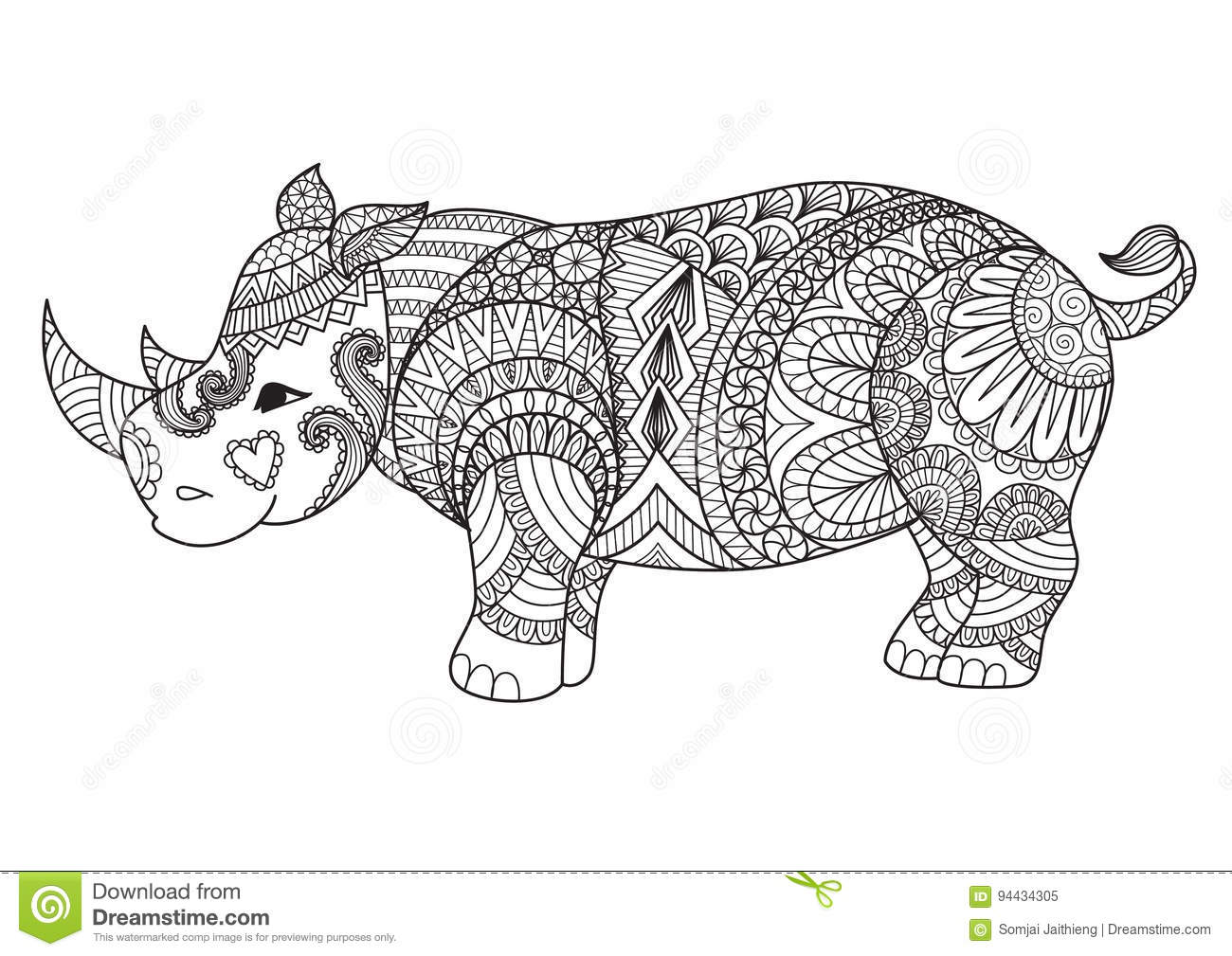 Drawing Zentangle Rhino For Coloring Page Shirt Design Effect Logo