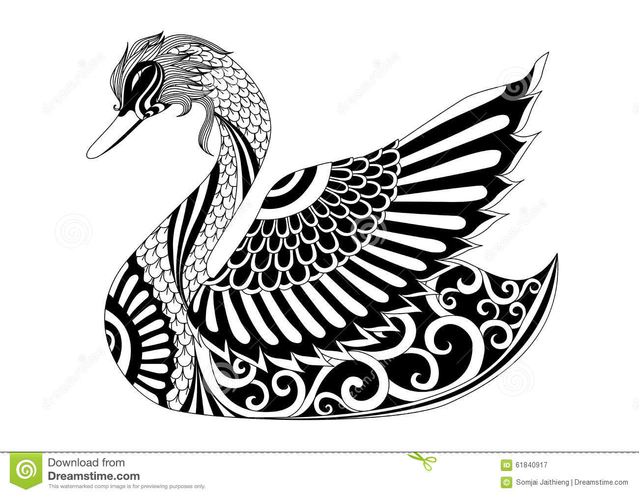 Drawing Zentangle Swan For Coloring Page, Shirt Design Effect, Logo ...
