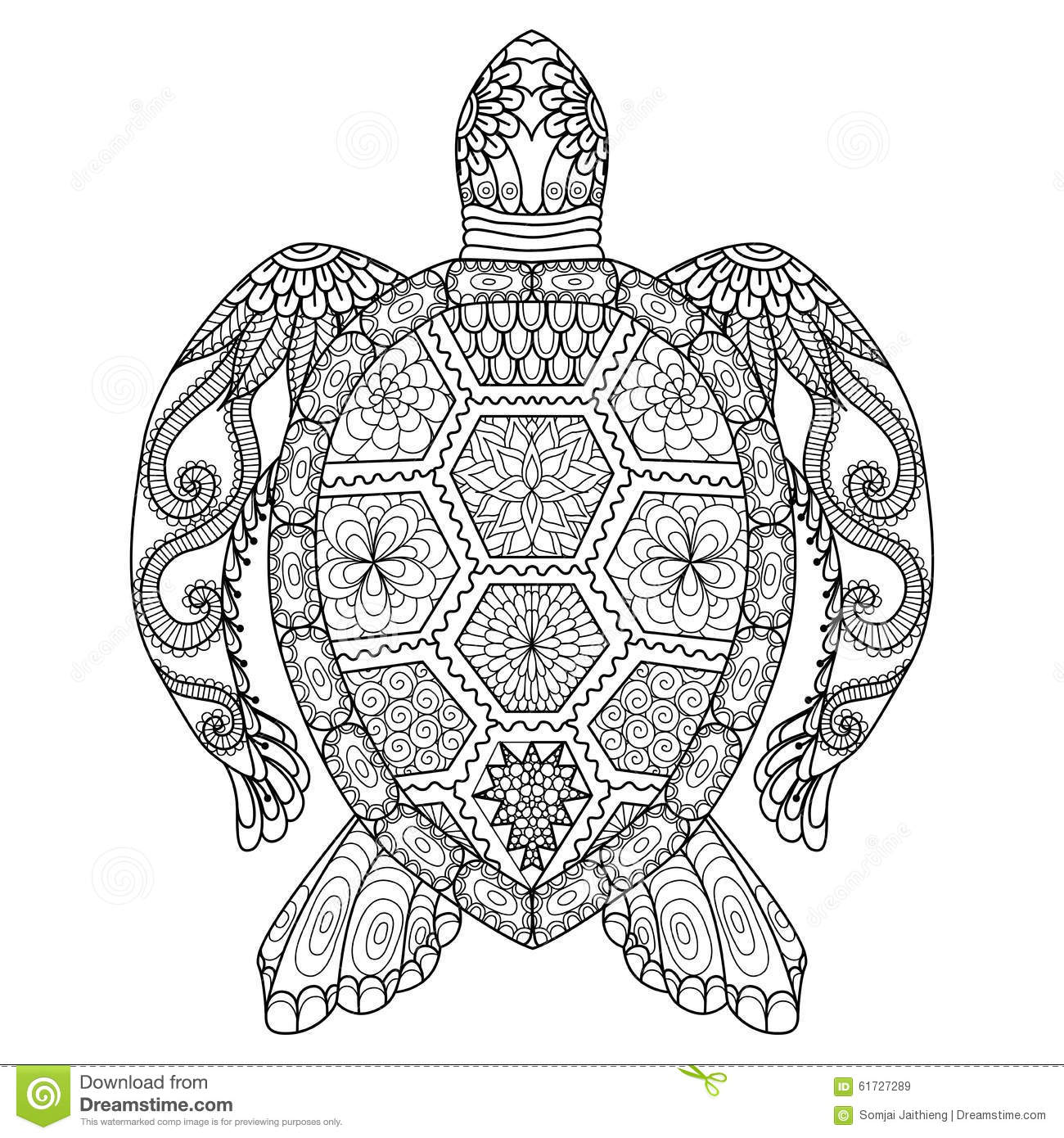 Drawing Zentangle Turtle For Coloring Page Shirt Design