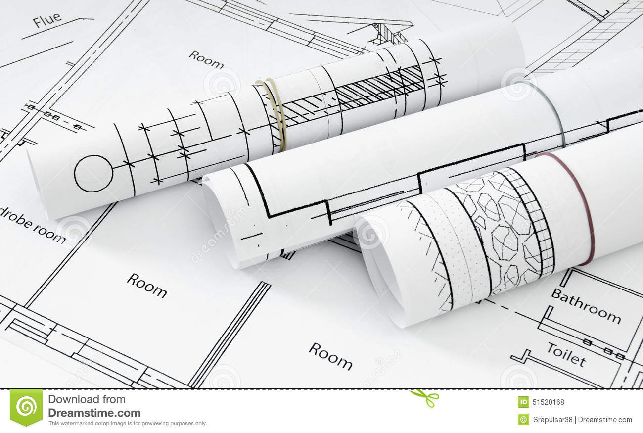 Drawings For Building House Working Stock Photo