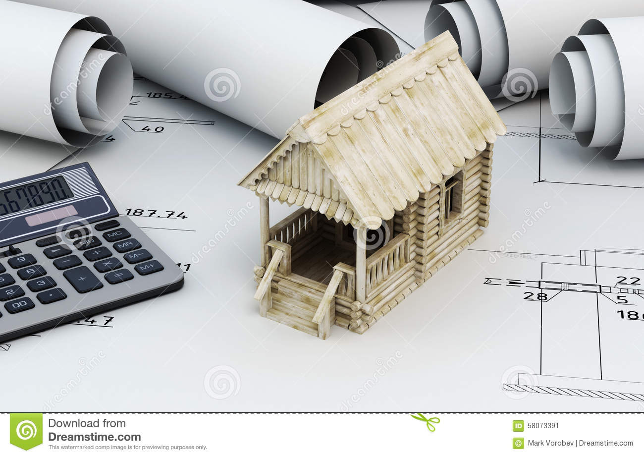 Drawings For Building And Small Wooden House With