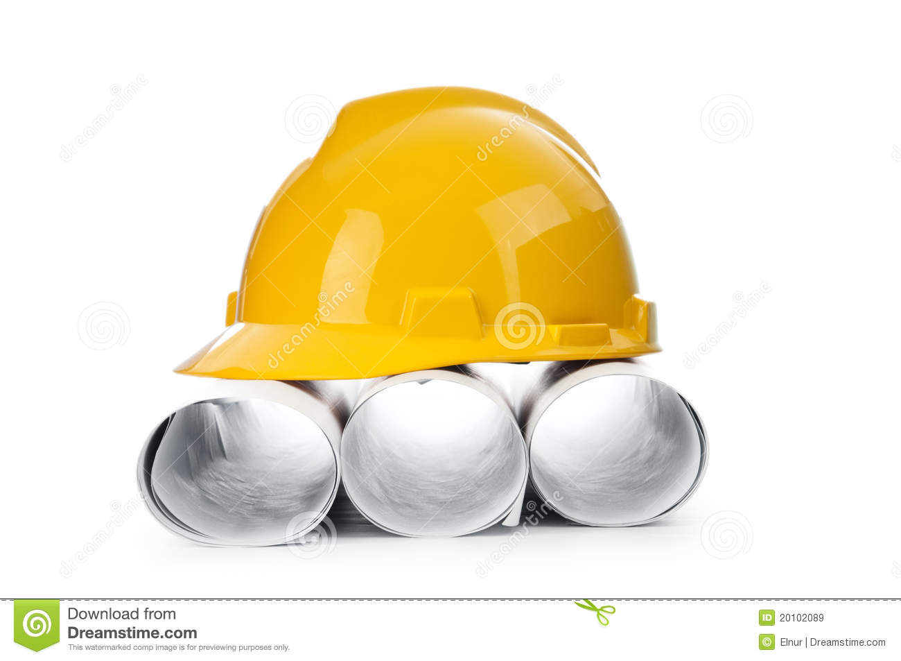 Drawings And Hard Hat Isolated