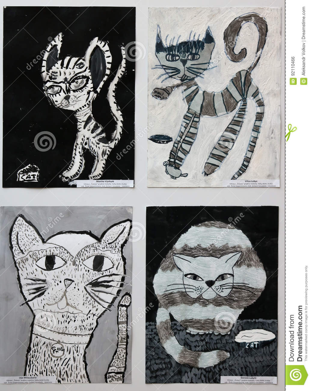 Drawings and paintings of cats of children