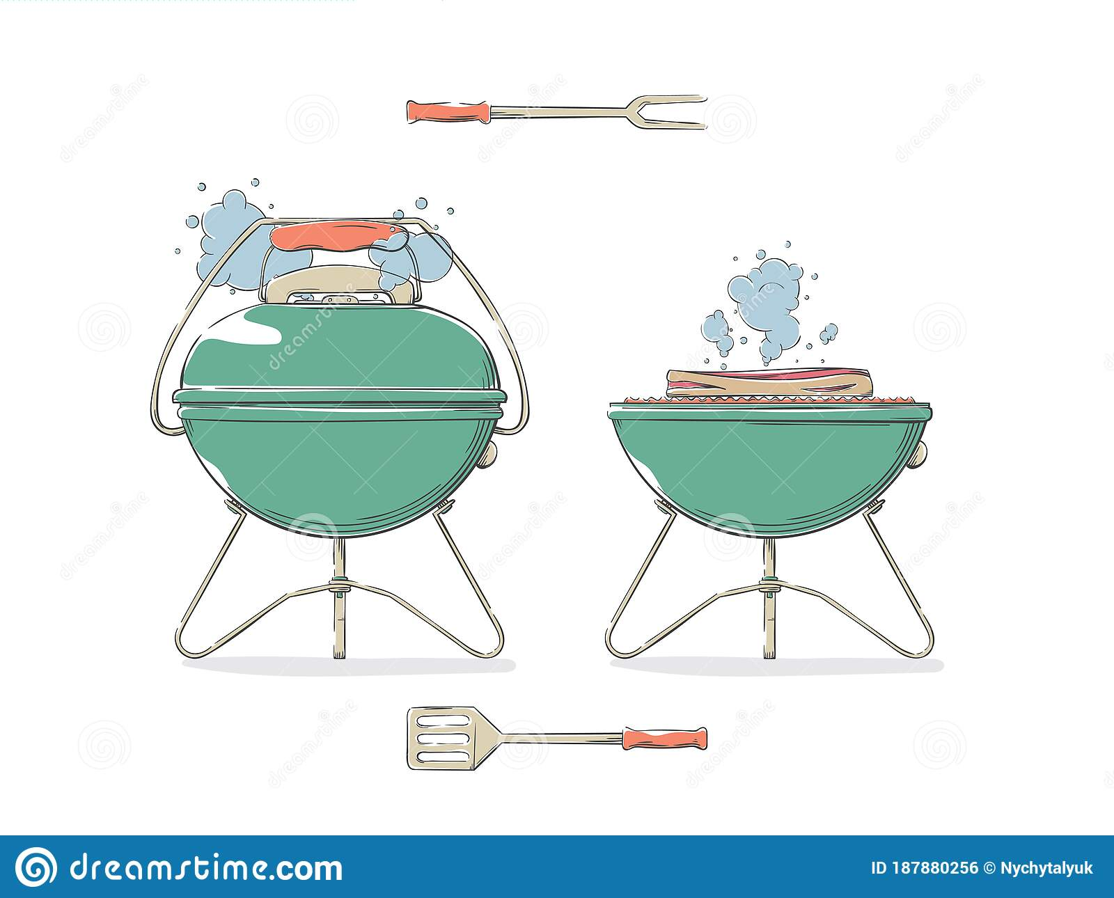 Drawn Barbecue Grill Elements For Restaurant Menu Or Weekend Outdoor Lunch Or Picnic Stock Vector Illustration Of Elements Lunch 187880256