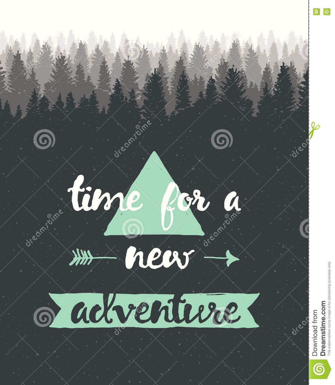 Dow Quotes Real Time: Drawn Calligraphic Quote Time Adventure Poster Stock Photo