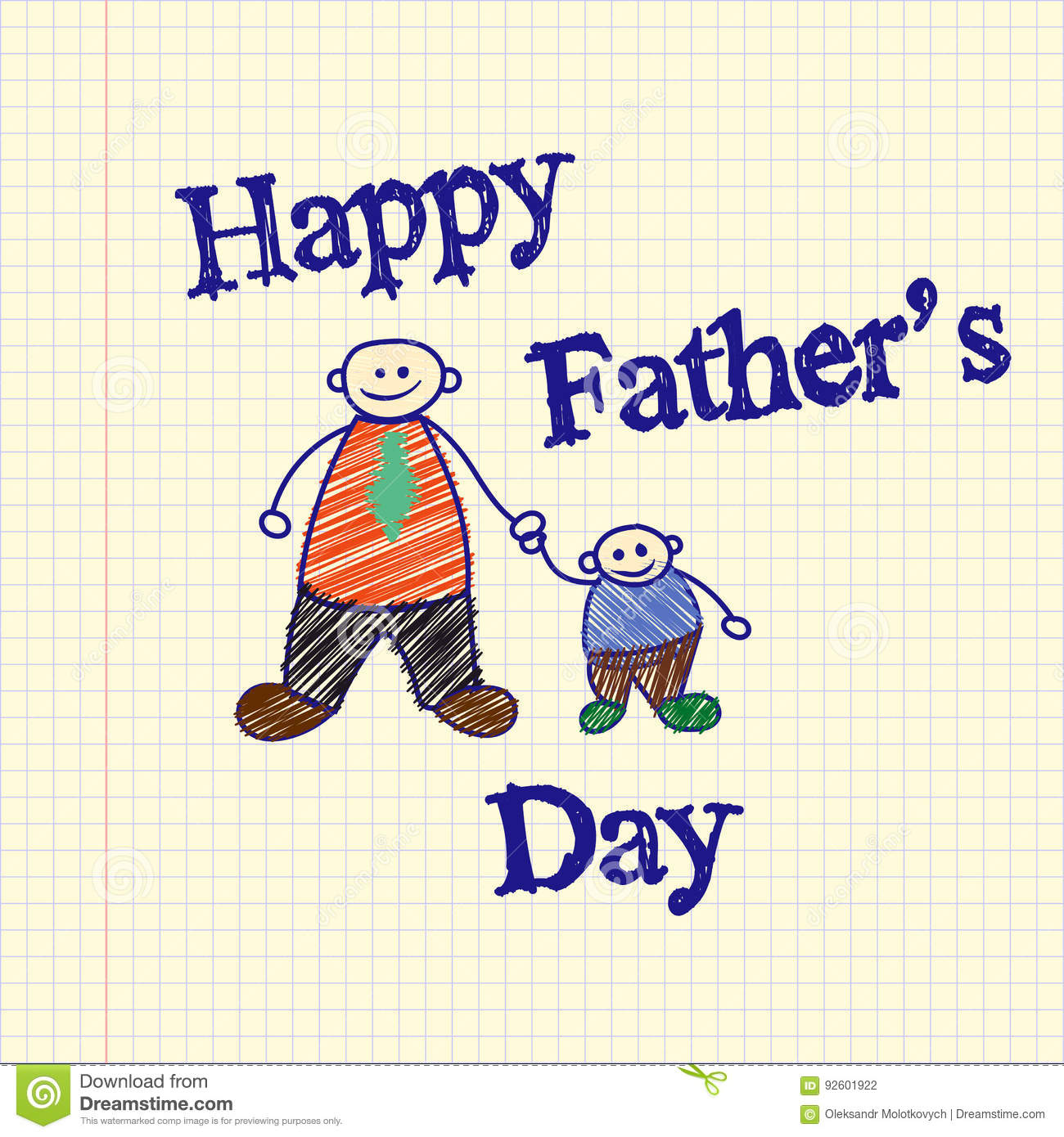 Drawn By A Child Drawing For Fathers Day Father And Son Template