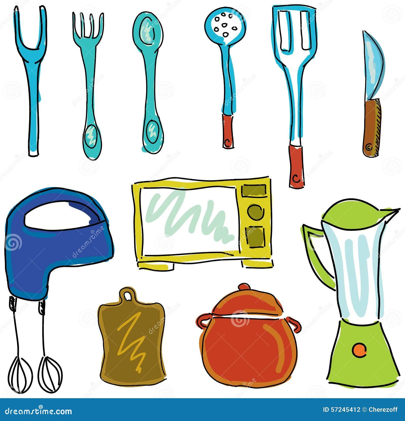 Drawn Kitchen Stuff Stock Vector Illustration Of Drawn 57245412