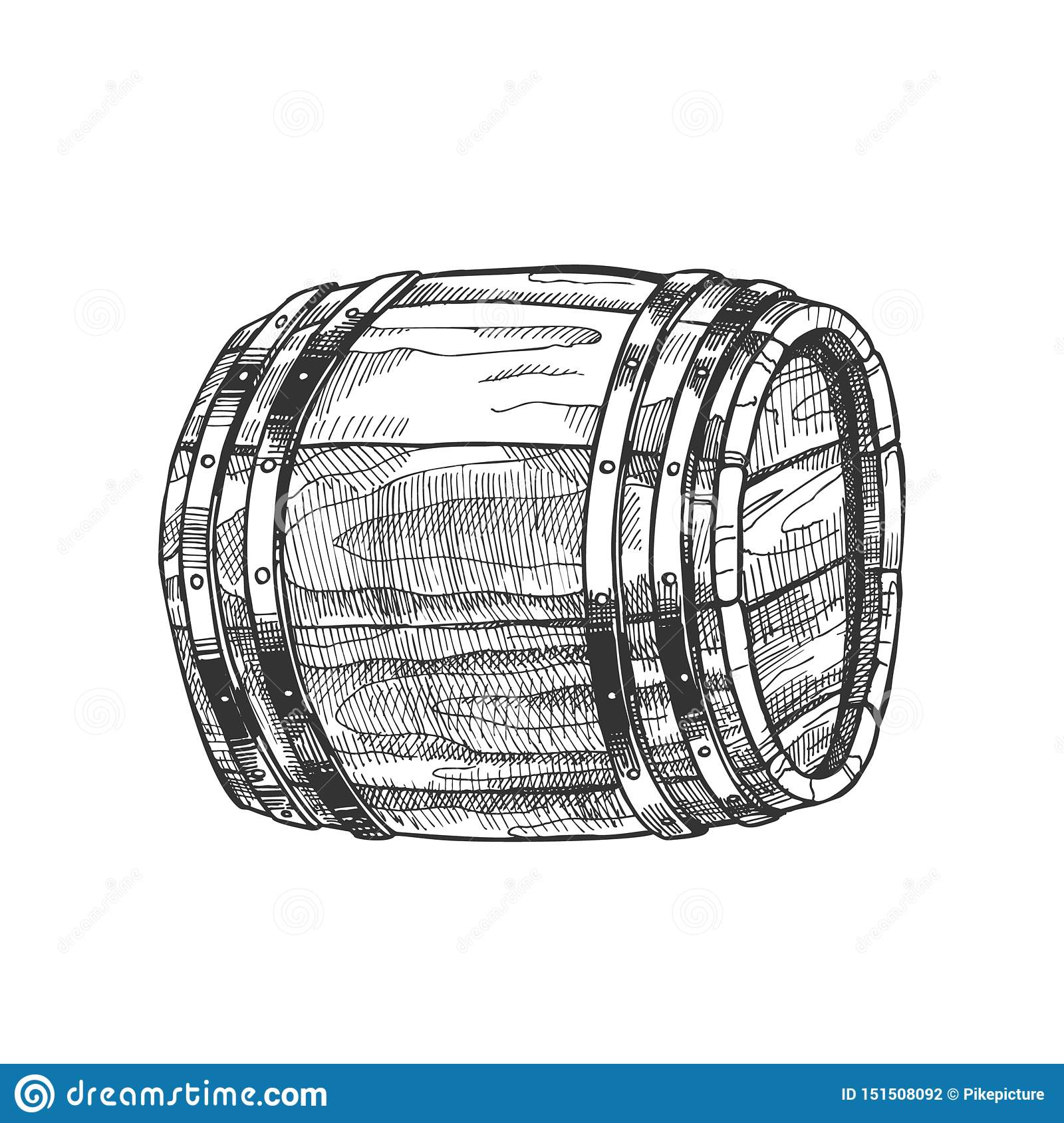 Drawn Lying Vintage Wooden Barrel Side View Vector