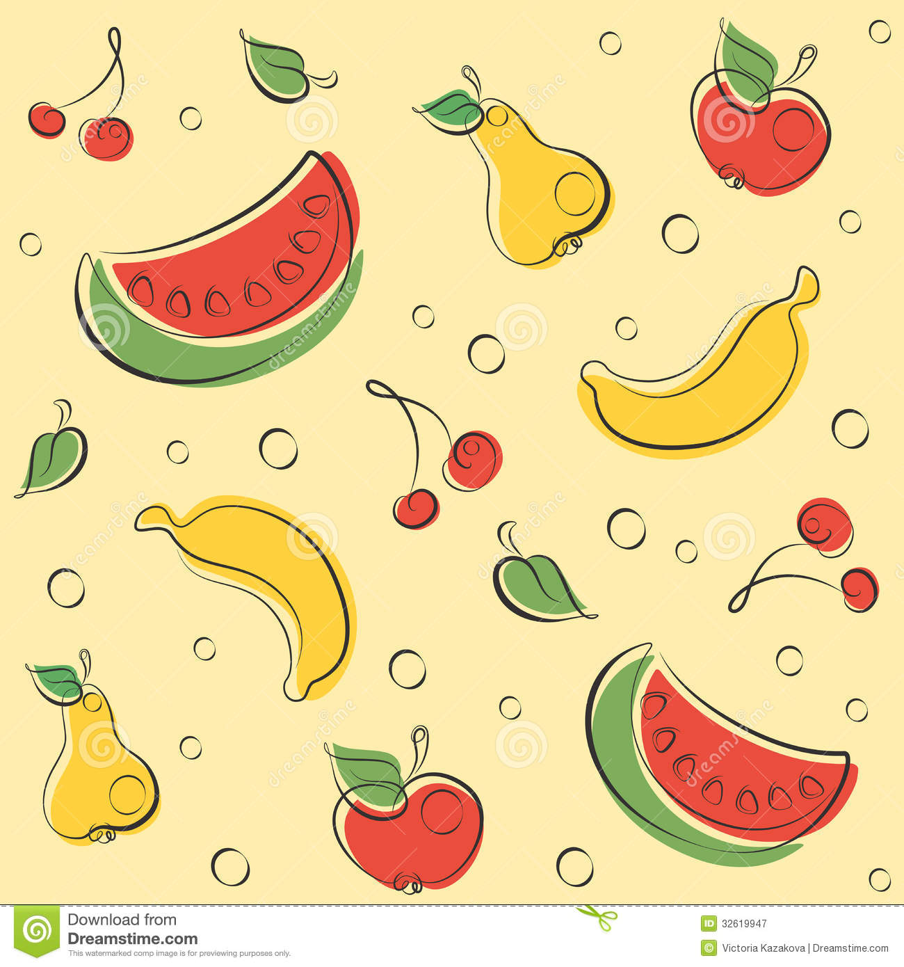 Drawn Outline Fruit Pattern Royalty Free Stock Photography - Image ...