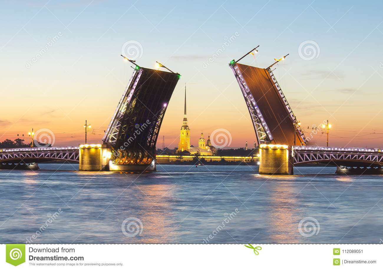 Drawn Palace Bridge and Peter and Paul Fortress at white nights, Saint Petersburg, Russia