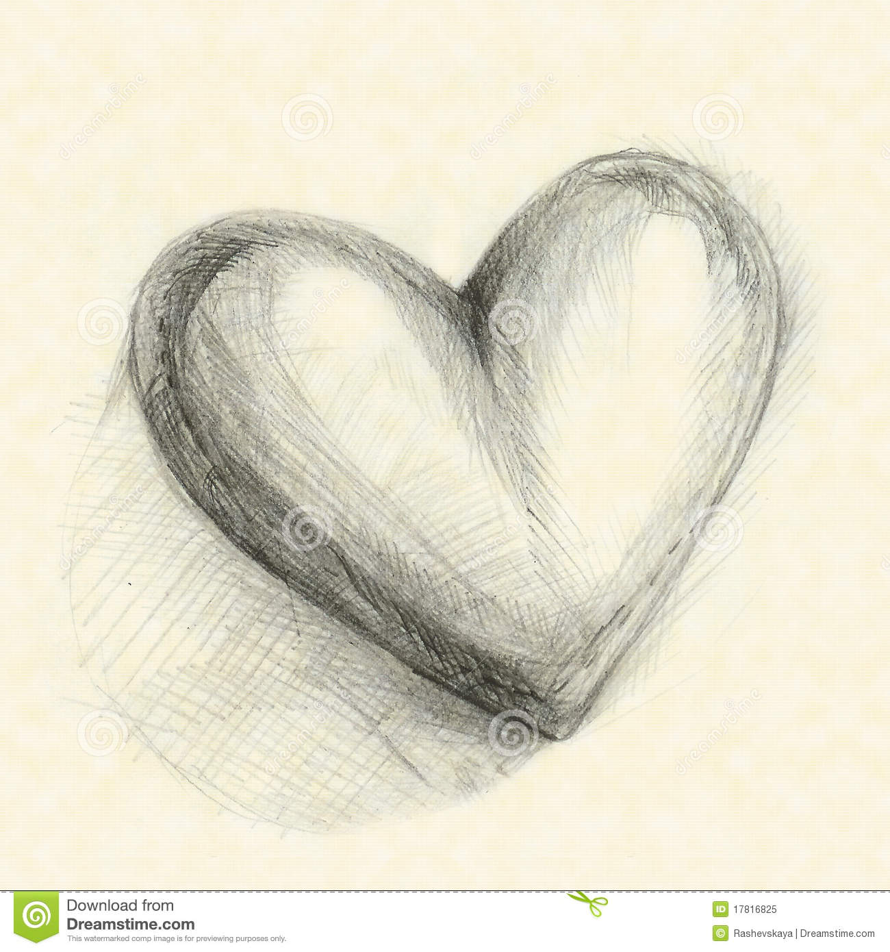 Drawn in pencil heart