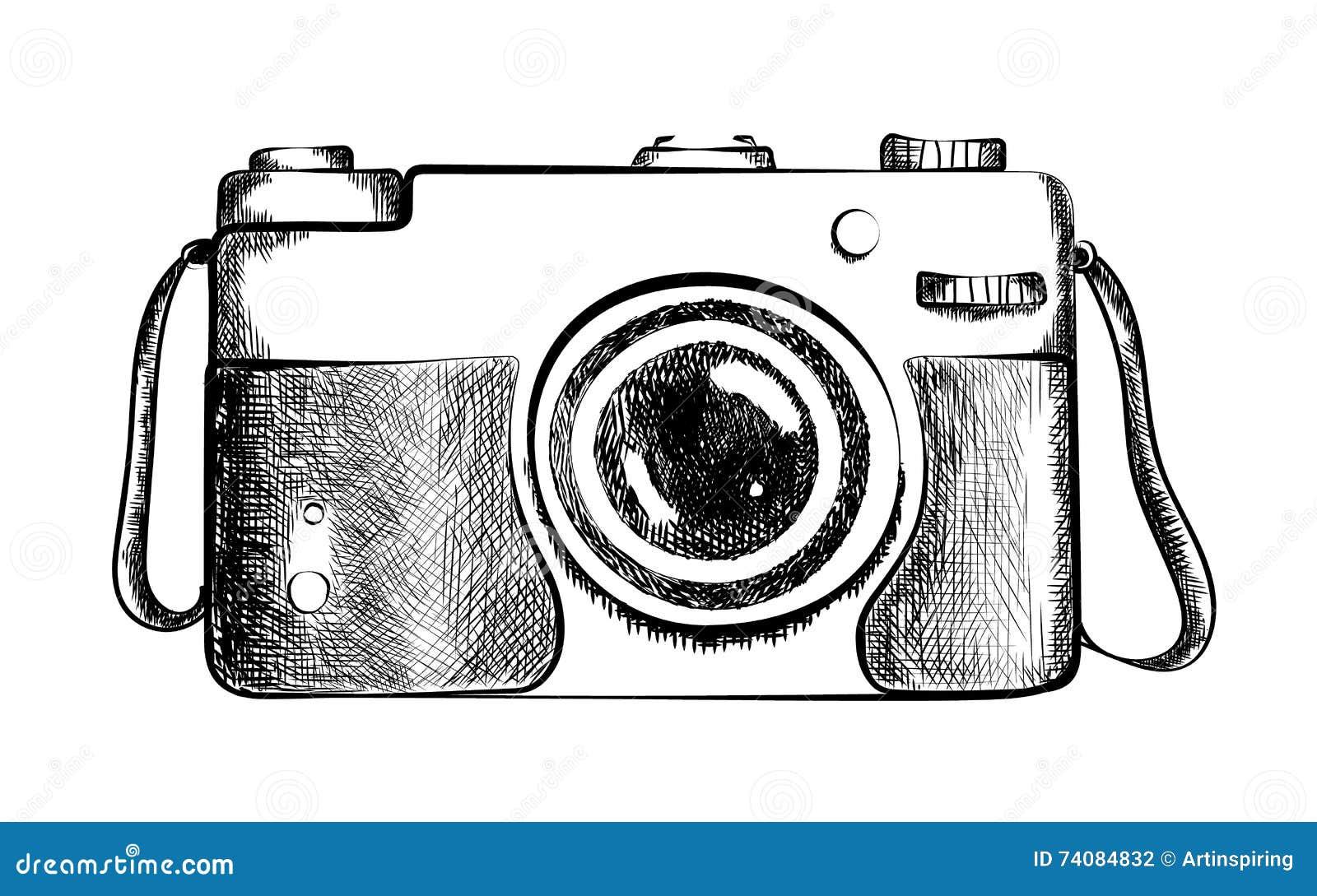 Drawn retro camera. stock vector. Illustration of lens ...