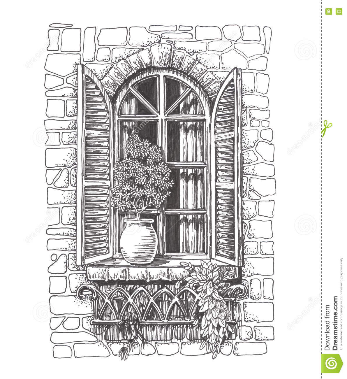 vintage window drawing. royalty-free illustration. download drawn sketch vintage window drawing n