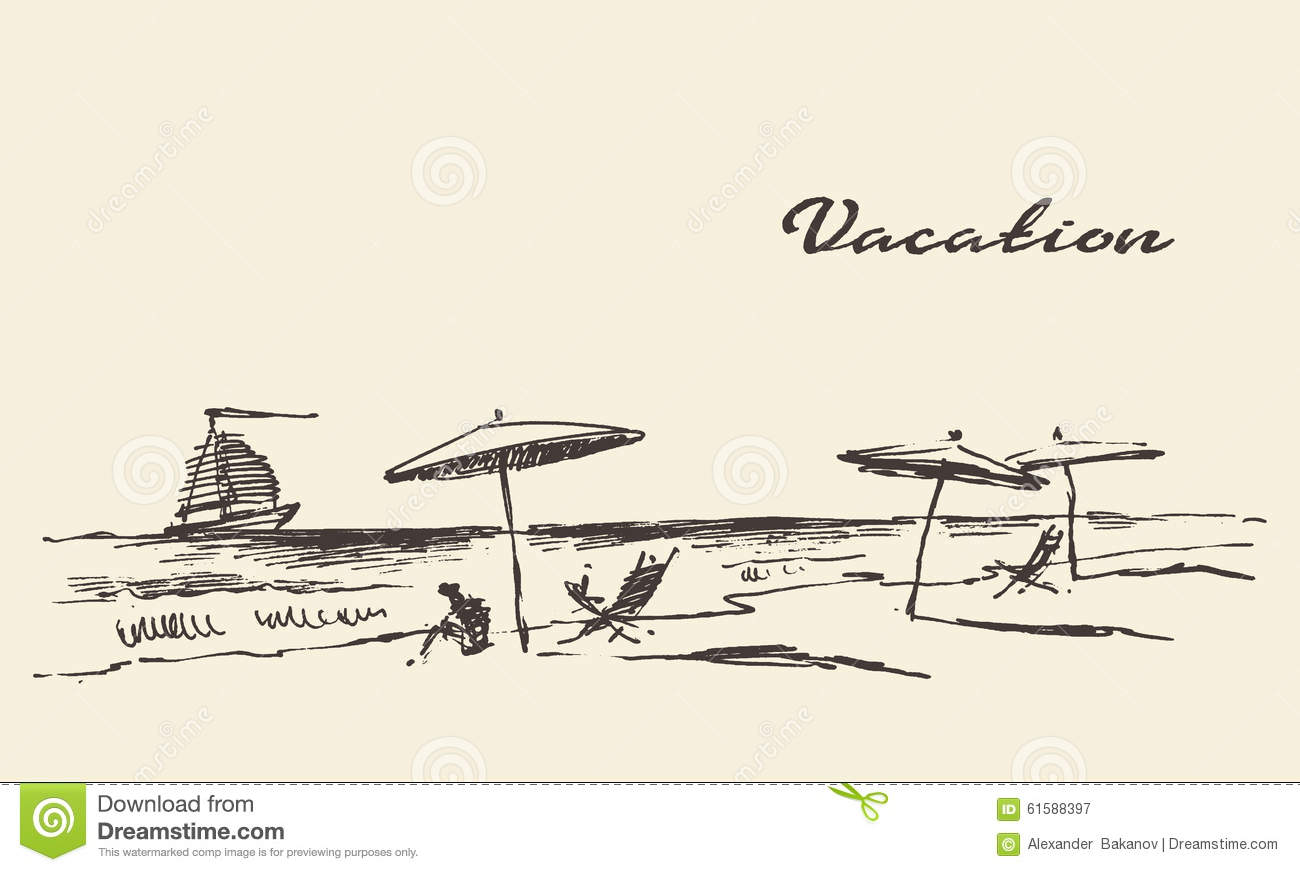 Drawn Vacation Poster Seaside View Beach Sketch Stock