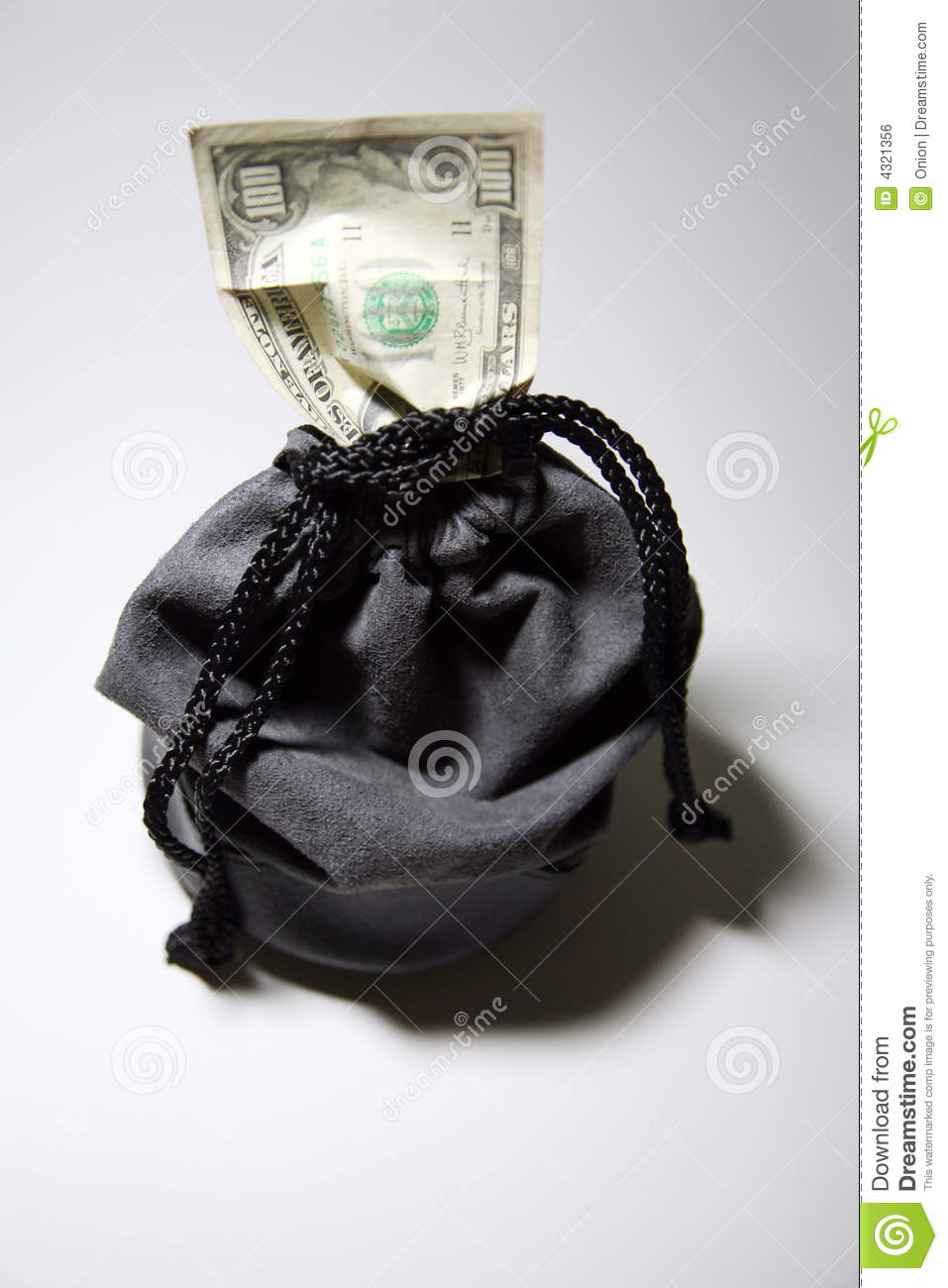 Drawstring bag with money