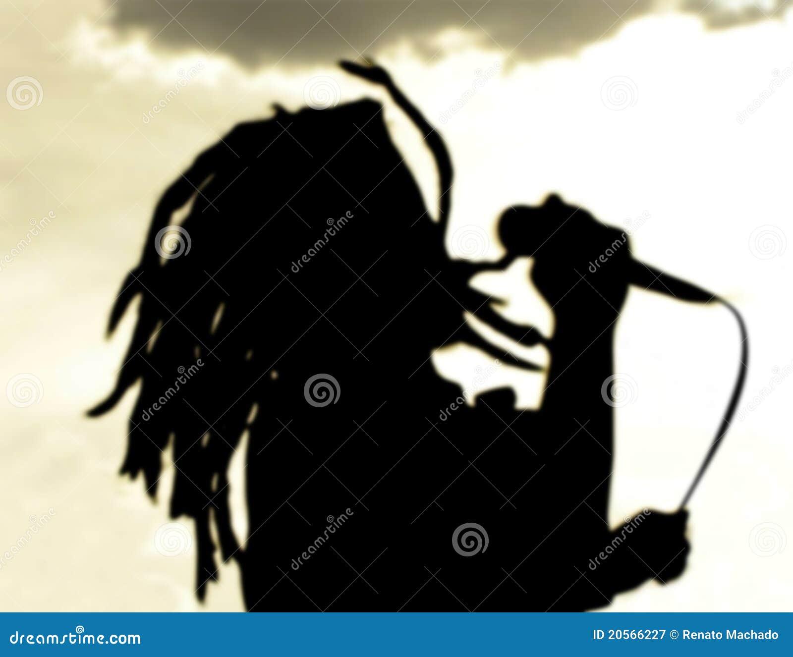 Dreadlock sylwetki piosenkarza zmierzch