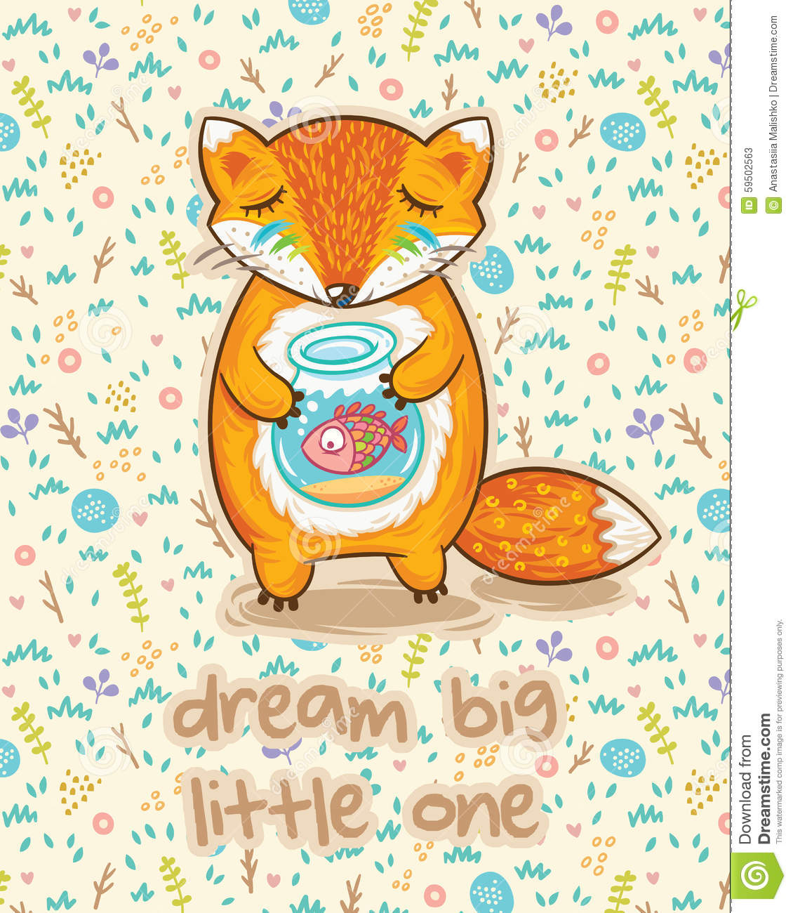 Dream big little one cute card with fox and fish stock for Dream about fish