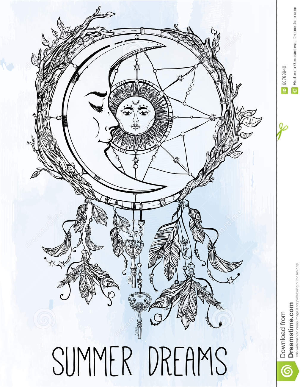 Dream Catcher Adorned With Sun And Moon Inside. Stock