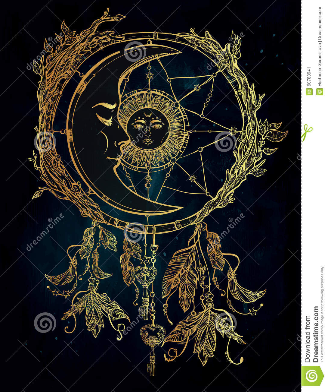 Dream Catcher In The Sun Dream Catcher Adorned With Sun And Moon Inside Stock Illustration 20