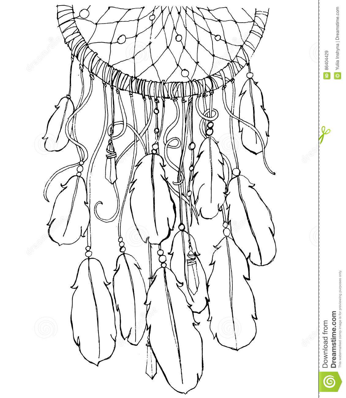 Dream Catcher Coloring Page Stock Vector Illustration Of Book